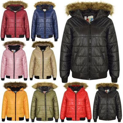 A2Z Trendz Kids Boys Girls Jackets Designer's Detachable Maya Faux Fur Hooded Padded Quilted Puffer Bubble Jacket Coats Age 5 6 7 8 9 10 11 12 13 Years