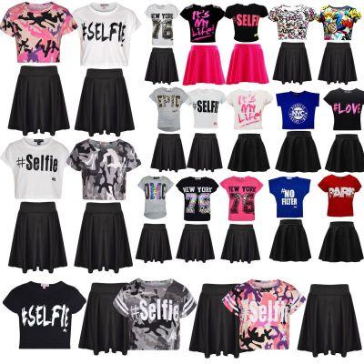 Kids Girls Comic Graffiti Scribble Leopard #SELFIE #No Filter #Love NYC Paris New York 76 Epic OMG Printed Fashion Crop Top & Stylish Black Skater Skirt Set 7-13 Years