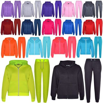A2Z Trendz Kids Girls Boys Plain Tracksuit Hooded Hoodie Bottom Back To School Jog Suit Joggers New Age 7 8 9 10 11 12 13 Years