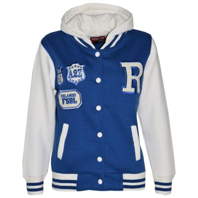 Kids Girls Boys R Fashion Baseball Royal Blue Hooded Jacket Varsity Hoodie 2-13Y