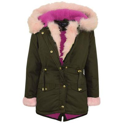 A2Z Trendz Kids Girls Jacket Designer Baby Pink Faux Fur Hooded Parka School Jackets Outwear Coats New Age 5 6 7 8 9 10 11 12 13 Years