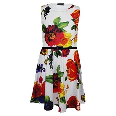 A2Z Trendz Girls Skater Dress Kids Floral Print Summer Party Dresses New Age 7 8 9 10 11 12 13 Years