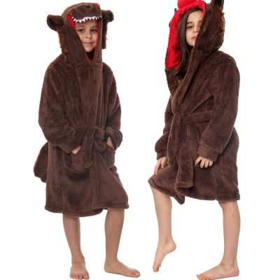 Unisex Girls Boys Bathrobe 3D Animal Wolf Dressing Gown.