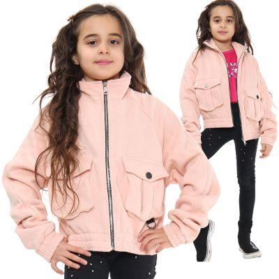Kids Girls Plain Zip Up Cropped Jackets Blush Fleece Stylish Utility Pockets Jackets Fashion Thick Coats.