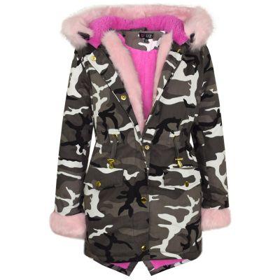 A2Z Trendz Kids Girls Jacket Designer's Camouflage Baby Pink Faux Fur Hooded Parka School Jackets Outwear Coats New Age 2 3 4 5 6 7 8 9 10 11 12 13 Years