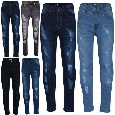 A2Z Trendz Boys Stretchy Jeans Kids Designer's Ripped Denim Skinny Pants Fashion Trousers Age 5 6 7 8 9 10 11 12 13 Years