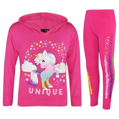 A2Z Trendz Girls Dabbing Unicorn Unique Tracksuit Kids Designer's Rainbow Floss Hooded Pink Top & Legging Lounge Wear New Age 7 8 9 10 11 12 13 Years