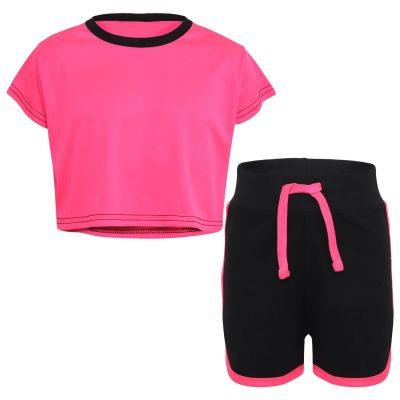 Kids Girls Crop Top & Hot Shorts Neon Pink Fashion Gym Sports Summer Outfit Clothing Sets.