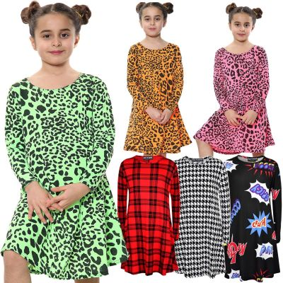 A2Z Trendz Kids Girls Swing Dress Designer's Leopard Print Trendy Fashion Top Skater Dresses 5 6 7 8 9 10 11 12 13 Years