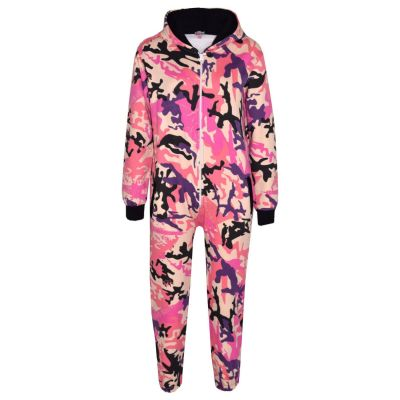 A2Z Trendz Kids Boys Girls Fleece Onesie Designer's Camouflage Baby Pink._Print All In One Jumpsuit Playsuit New Age 5 6 7 8 9 10 11 12 13 Years