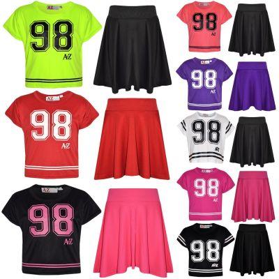 A2Z Trendz Girls Top Kids 98 Print Stylish Crop Top & Fashion Skater Skirt Set New Age 5 6 7 8 9 10 11 12 13 Years