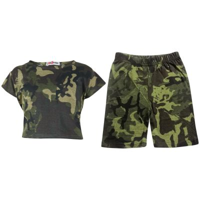 A2Z Trendz Kids Girls Crop Top & Cycling Shorts Camouflage Green Print Trendy Fashion Summer Outfit Short Sets New Age 5 6 7 8 9 10 11 12 13 Years