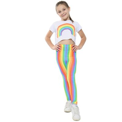 A2Z Trendz Kids Girls Crop Top Designer's Rainbow Print White Tops Trendy Floss Fashion Belly Shirt Trendy T Shirt Tees New Age 5 6 7 8 9 10 11 12 13 Years