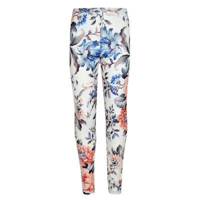 Kids Girls Legging Peach Floral Print Stylish Fashion Leggings New Age 7 8 9 10 11 12 13 Years