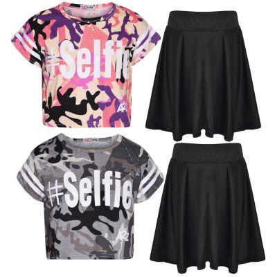 A2Z Trendz Girls Top Kids Designer's #Selfie Camouflage Print Trendy Crop Top & Fashion Skater Skirt Set New Age 5 6 7 8 9 10 11 12 13 Years