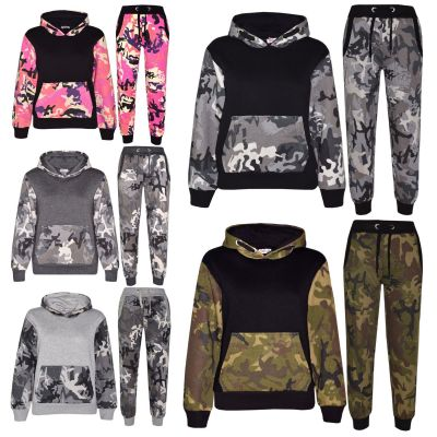 A2Z Trendz Kids Boys Girls Tracksuit Designer's Camouflage Print Contrast Panel Zipped Top Hoodie & Botom Jogging Suit Age 7 8 9 10 11 12 13 Years