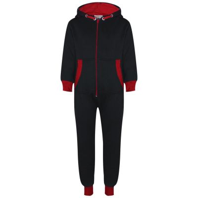 A2Z Trendz Kids Girls Boys Red Contrast Fleece Onesie All In One Jumsuit Playsuit Nightwear New Age 2 3 4 5 6 7 8 9 10 11 12._13 Years