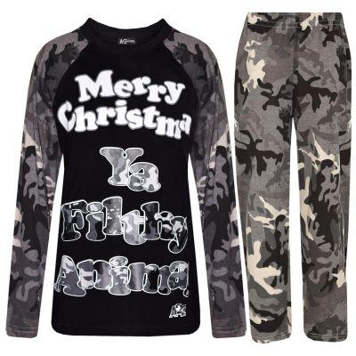 A2Z Trendz Kids Pjs Girls Boys Merry Christmas Ya Filthy Animal Camouflage Print Christmas Pyjamas Set Age 5 6 7 8 9 10 11 12 13 Years