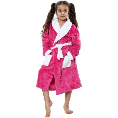 Kids Girls Boys Bathrobes Plain Pink Soft Dressing Gown Loungewear.