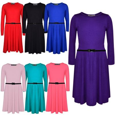 A2Z Trendz Kids Girls Skater Dress Kids Party Fashion Dresses With Free Belt 3/4 Sleeves Age 7-13 Years