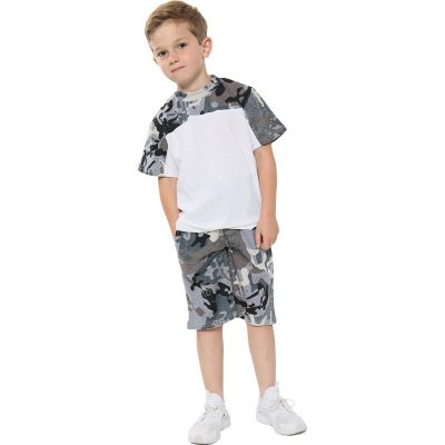 A2Z Trendz Kids Girls Boys Shorts Set 100% Cotton Camouflage Charcoal Panelled Trendy Fashion Summer T Shirt Top And Hot Short Pants Gymwear Outfit Sets New Age 5 6 7 8 9 10 11 12 13 Years