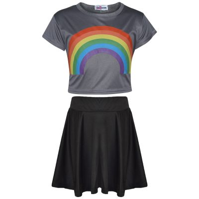 A2Z Trendz Kids Girls Crop Top & Skirt Sets Designer's Rainbow Print Steel Grey Trendy Floss Fashion Belly Shirt & Skirts Trendy T Shirt Tops Tees & Bottom Set New Age 5 6 7 8 9 10 11 12 13 Years