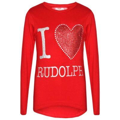 A2Z Trendz Girls Top Kids Designer's I Love Rudolph Print Trendy Fashion T Shirt Tops Xmas Gift Age 2 3 4 5 6 7 8 9 10 11 12 13 Years
