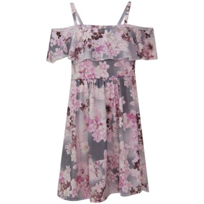 A2Z Trendz Girls Skater Dress Floral Lilac Print Summer Party Fashion Off Shoulder Dresses New Age 7 8 9 10 11 12 13 Years
