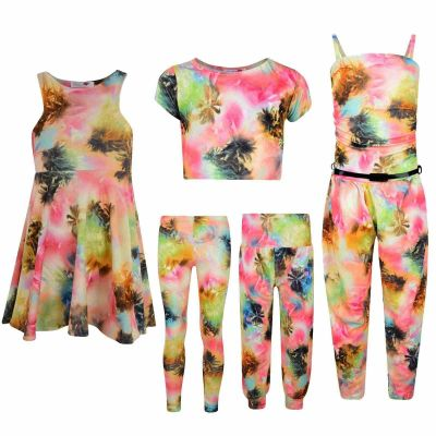 Kids Girls Neon Abstract Palm Tree Print Legging Midi Skater Dress Crop Top Jumpsuit Age 7-13 Years
