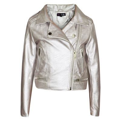 A2Z Trendz Girls Jackets Kids Designer's Metallic Silver PU Faux Leather Jacket Fashion Zip Up Biker Coat Overcoats New Age 5 6 7 8 9 10 11 12 13 Years