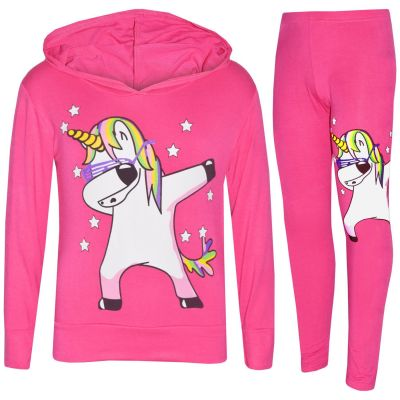 A2Z Trendz Kids Girls Tracksuit Designer's Rainbow Unicron Dab Floss Print Pink Hooded Crop Top & Legging Lounge Wear Set New Age 7 8 9 10 11 12 13 Years
