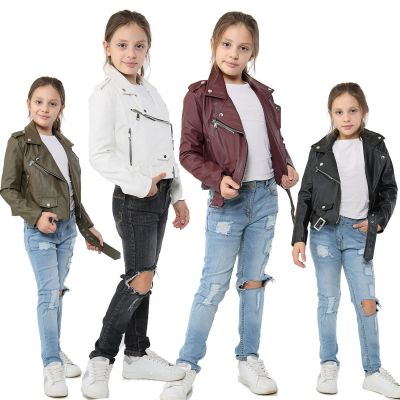 A2Z Trendz Kids Jackets Girls Designer's PU Leather Jacket Fashion Zip Up Biker Trendy Belted Coat Overcoats New Age 5 6 7 8 9 10 11 12 13 Years