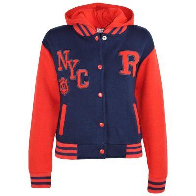 Kids Girls Boys R Fashion NYC Baseball Navy & Red Hooded Jackets Varsity Hoodies