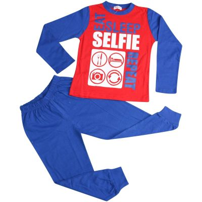 A2Z Trendz Kids Girls Boys Pajamas Designer's Eat Sleep Selfie Repeat Print Cotrast Sleeves Royal Blue Stylish Pyjamas Loungewear Nightwear PJS New Age 2 3 4 5 6 7 8 9 10 11 12 13 Years