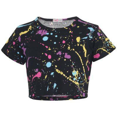 Girls Crop Tops Pastel Splash Print Stylish Fahsion Trendy T Shirt Tank Top & Tees.