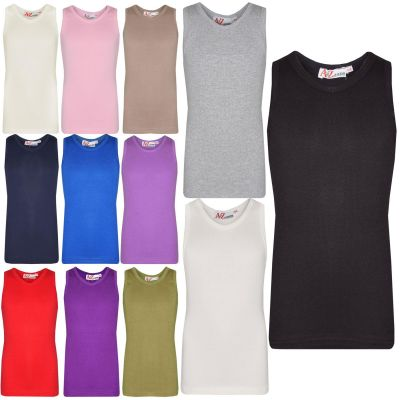 A2Z Trendz Kids Girls Ribbed Vest Top Designer's 100% Thick Cotton Fashion Tank Tops T Shirts New Age 2 3 4 5 6 7 8 9 10 11 12 13 Years
