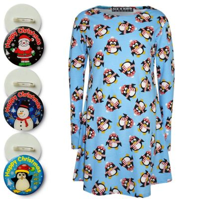 A2Z Trendz Girls Christmas Dress Kids Penguin Print New Xmas Fashion Dresses With A Free Xmas Badge New Age 3 4 5 6 7 8 9 10 11 12 13 Years