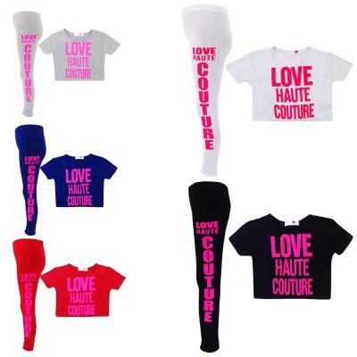 "Kids Girls "" LOVE HAUTE COUTURE "" Print Crop Top Fashion T Shirt & Stylish Legging Set Age 7-13 Years"