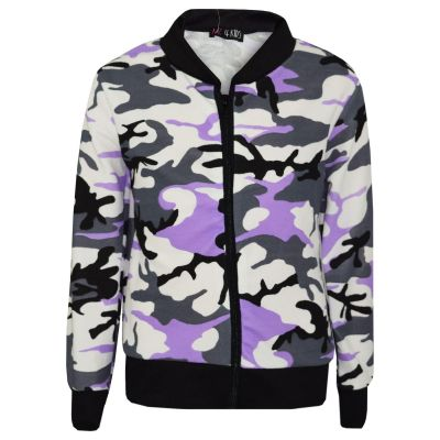 A2Z Trendz Kids Girls Jacket Designer's Camouflage Print Lilac Jackets Tops Zipped Fashion Coats New Age 7 8 9 10 11 12 13 Years