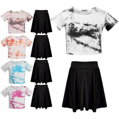Girls Tie Dye Print Crop & Skirt Set