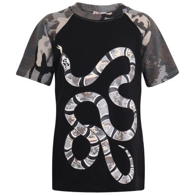 A2Z Trendz Kids Boys T Shirt Tops Designer's Camouflage Snake Charcoal & Black Contrast Panel 100% Cotton T-Shirts Age 5 6 7 8 9 10 11 12 13 Years