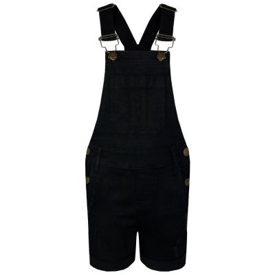 A2Z Trendz Kids Girls Dungaree Shorts Designer's Black Denim Ripped Stretch Jeans Overall All In One Jumpsuit Playsuit Age 5 6 7 8 9 10 11 12 13 Years