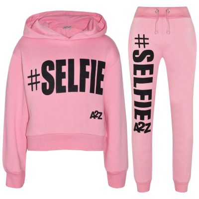 A2Z Trendz Kids Girls Tracksuit Designer #Selfie Print Hooded Crop Top Bottom - T.S Crop #Selfie Baby Pink_3-4