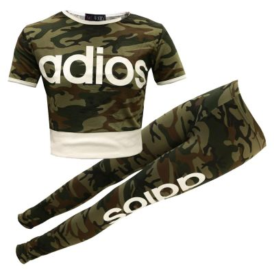A2Z Trendz Kids Girls Adios Print Crop Top & Legging Set Camouflage Green Tracksuit Jogging Suit New Age 7-13 Years