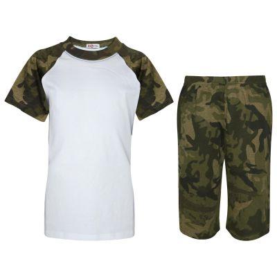 A2Z Trendz Kids Girls Boys Pyjamas Set Plain Camo Green Contrast Color Short Sleeves Tee Top & Knee Length Shorts Sleepwear Summer Outfit Sets Nightwear PJS New Age 2 3 4 5 6 7 8 9 10 11 12 13 Years