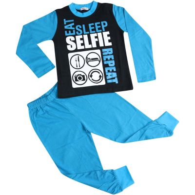 A2Z Trendz Kids Girls Boys Pajamas Designer's Eat Sleep Selfie Repeat Print Cotrast Sleeves Blue Stylish Pyjamas Loungewear Nightwear PJS New Age 2 3 4 5 6 7 8 9 10 11 12 13 Years