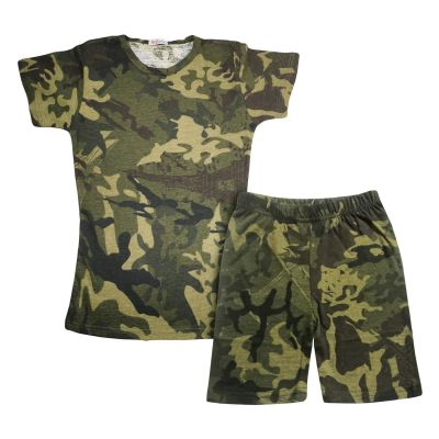 A2Z Trendz Kids Girls Shorts Set 100% Cotton Camouflage Green Print Trendy Fashion Summer T Shirt Top And Short Pants Outfit Clothing Sets New Age 5 6 7 8 9 10 11 12 13 Years