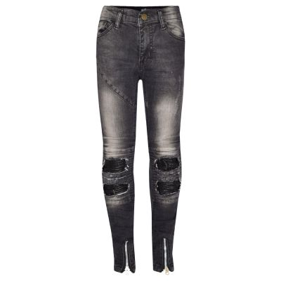 A2Z Trendz Kids Girls Stretchy Jeans Designer's Black Ripped Knee Drape Panel Denim Pants Fit Trousers New Age 5 6 7 8 9 10 11 12 13 Years