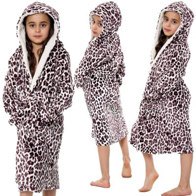 Kids Girls Bathrobes Brown Leopard Print Flannel Fleece Hooded Soft Dressing Gown Nightwear Loungewears.