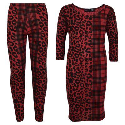 A2Z Trendz Girls Dress Kids Leopard & Tartan Print Trendy Fashion Midi Dress Legging Top Bottom Age 5 6 7 8 9 10 11 12 13 Years